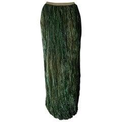 """DKNY """"New"""" Green Metalic Fiber Pleated Maxi Skirt - Unworn"""