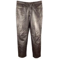 DKNY Size 30 Dark Brown Leather Jean Cut Pants