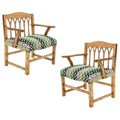 DM Nacional Mexican Mid-Century Modern Gilded Wood Children's Armchairs
