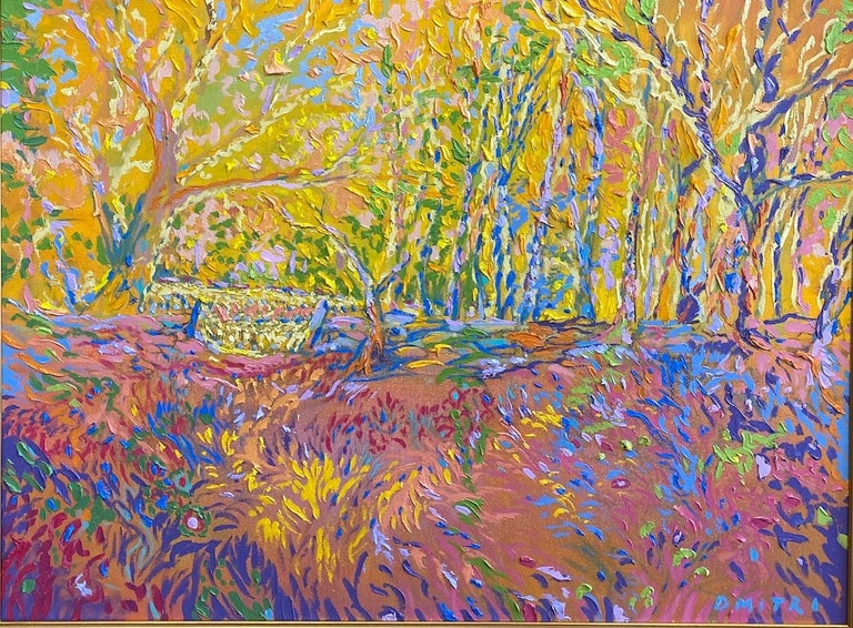 Fractals Quaver Beyond the Meadow, original 30x40 expressionist landscape - Painting by Dmitri Wright