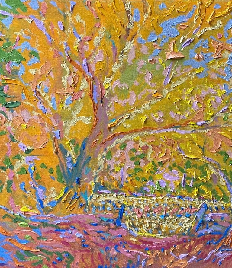 Fractals Quaver Beyond the Meadow, original 30x40 expressionist landscape - Expressionist Painting by Dmitri Wright