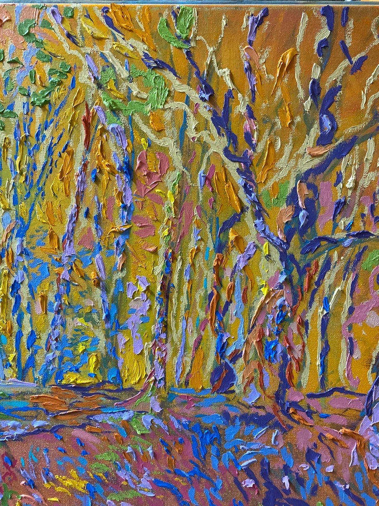 Fractals Quaver Beyond the Meadow, original 30x40 expressionist landscape - Brown Landscape Painting by Dmitri Wright