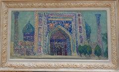 """ Samarcanda"" Oriental,Landscape,blue,arabesques,Uzbekistan  cm. 78 x 40 1974"