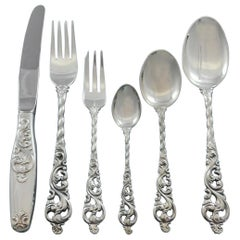 Dobbel Rokokko by Brodrene Lohne Silver Flatware Set for 10 Service 64 Pieces
