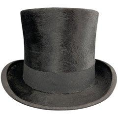 DOBBS Vintage Size 7 1/8 Black Beaver Top Hat w/ Box
