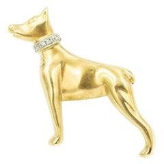 Doberman Pinscher Figural Diamond Yellow Gold Dog Brooch