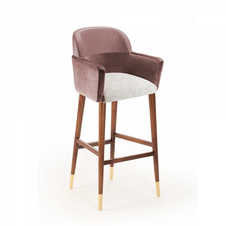 Mid-Century Modern Bar Chair Doble in Solid Wood and Upholstery New For Sale