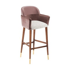 Bar Chair Doble in Solid Wood and Upholstery New