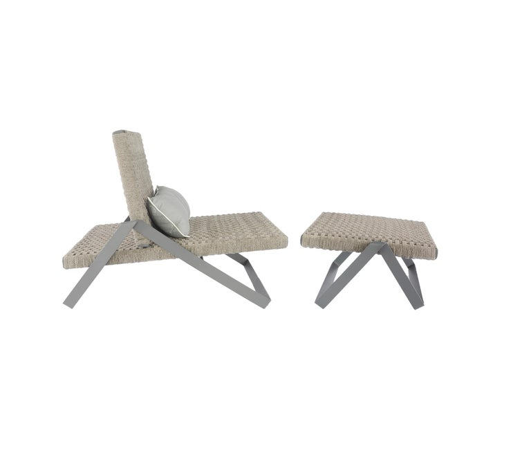 Modern Dobra Outdoor Footstool in Grey Chenille Soft Rope by Filipe Ramos For Sale