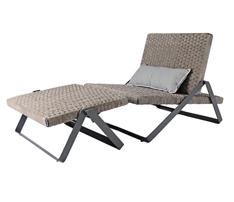 Brazilian Dobra Outdoor Footstool in Grey Chenille Soft Rope by Filipe Ramos For Sale
