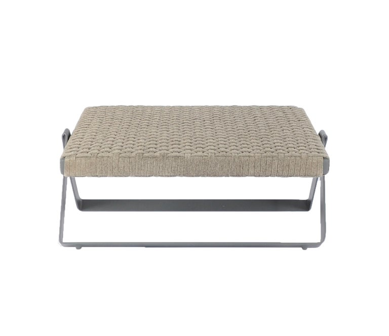 Powder-Coated Dobra Outdoor Footstool in Grey Chenille Soft Rope by Filipe Ramos For Sale