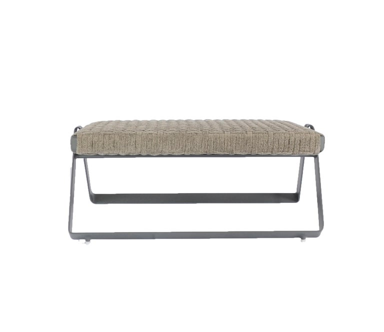 Dobra Outdoor Footstool in Grey Chenille Soft Rope by Filipe Ramos In New Condition For Sale In Sao Paulo, Sao Paulo