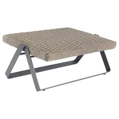 Dobra Outdoor Footstool in Grey Chenille Soft Rope by Filipe Ramos