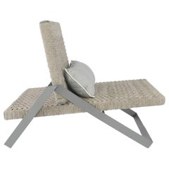 Dobra Outdoor Lounge Chair in Grey Chenille Soft Rope by Filipe Ramos