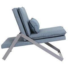 Dobra Upholstered Lounge Chair in Grey Linen