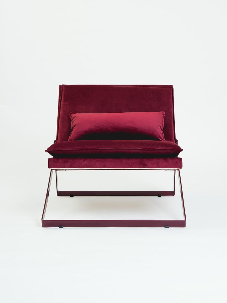 Modern Dobra Upholstered Lounge Chair in Red Velvet For Sale