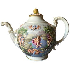 Doccia Mid-19th Century Porcelain Tea Pot Neoclassical Scenes