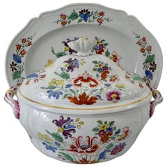 Doccia Porcelain Tureen, Cover and Stand, Tulipano Pattern, circa 1770