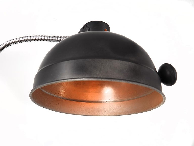 This is a simple large dome exam light on a gooseneck arm. The lamp moves up and down on the pipe base.