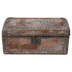 Document Box, 17th Century, English, Vernacular, Pony Skin, Domed