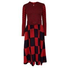 Documented 1971 Rudi Gernreich Red & Navy Check Dress w Belt