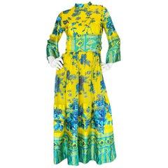 Documented 1972 Oscar de la Renta Silk Kimono Dress