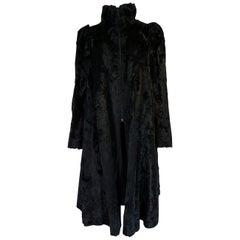 Documented 1973 Biba by Barbara Hulanicki Black Faux Fur Art Deco Swing Coat