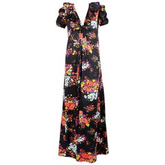 documented 1974 YVES SAINT LAURENT rive gauche floral maxi dress