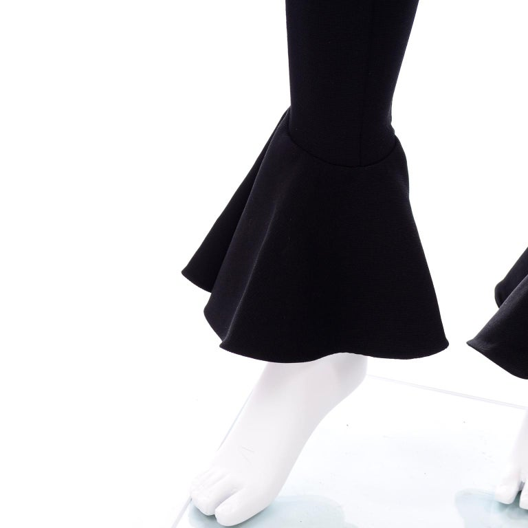Documented 1993 Gianni Versace Couture Vintage Black Runway Ruffled Hem Jumpsuit For Sale 6