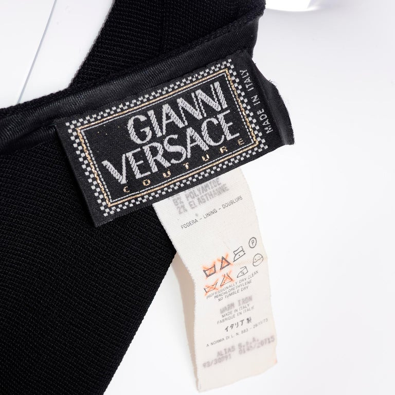 Documented 1993 Gianni Versace Couture Vintage Black Runway Ruffled Hem Jumpsuit For Sale 8