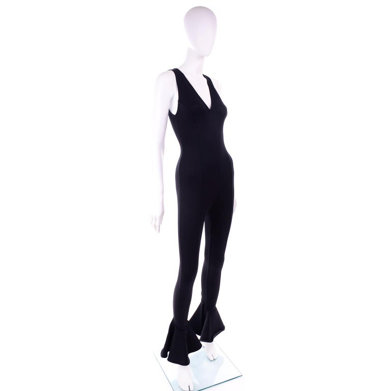 Documented 1993 Gianni Versace Couture Vintage Black Runway Ruffled Hem Jumpsuit In Excellent Condition For Sale In Portland, OR