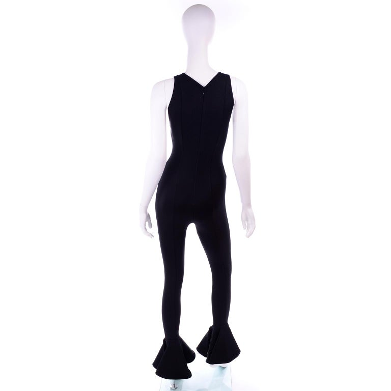 Documented 1993 Gianni Versace Couture Vintage Black Runway Ruffled Hem Jumpsuit For Sale 1