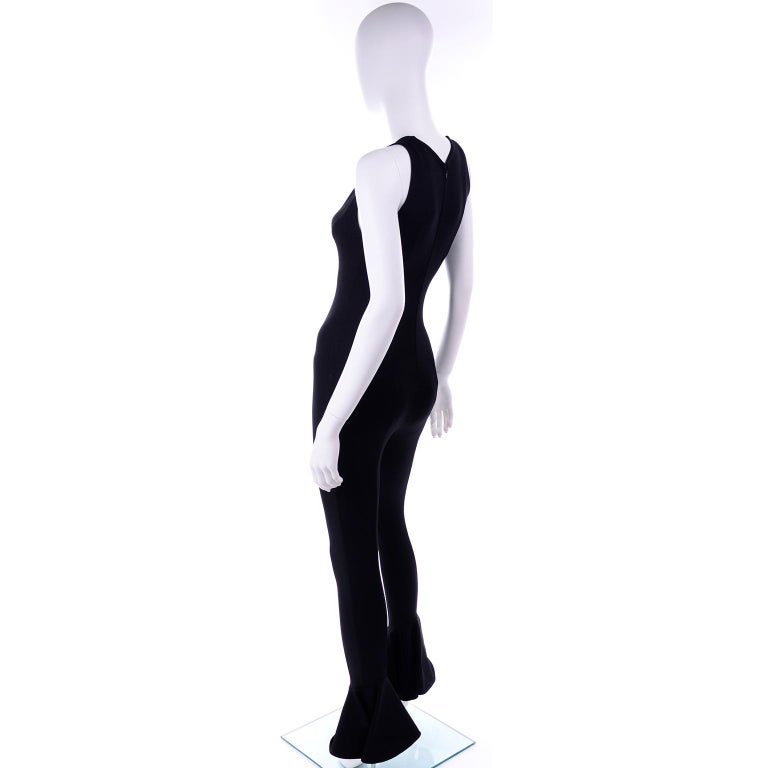 Documented 1993 Gianni Versace Couture Vintage Black Runway Ruffled Hem Jumpsuit For Sale 2