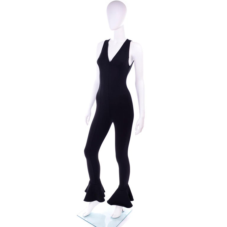 Documented 1993 Gianni Versace Couture Vintage Black Runway Ruffled Hem Jumpsuit For Sale 3
