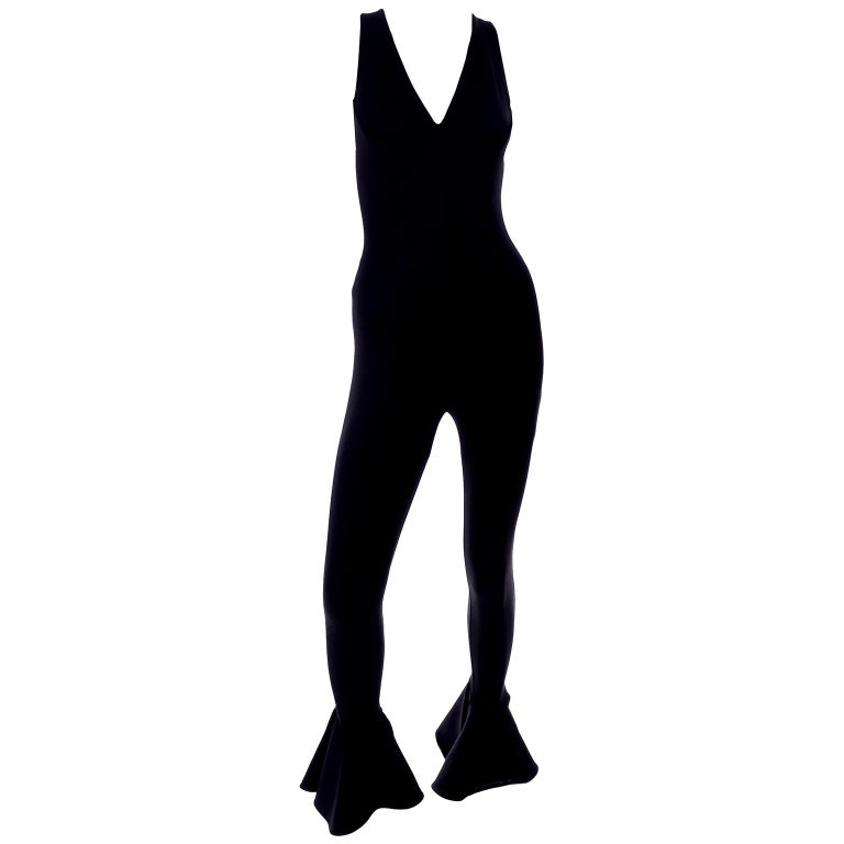 Documented 1993 Gianni Versace Couture Vintage Black Runway Ruffled Hem Jumpsuit For Sale