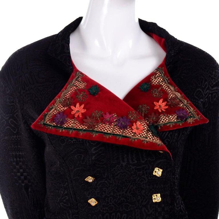 Documented Christian Lacroix 1994 Runway Black Velvet Skirt Suit W Red Velvet For Sale 7