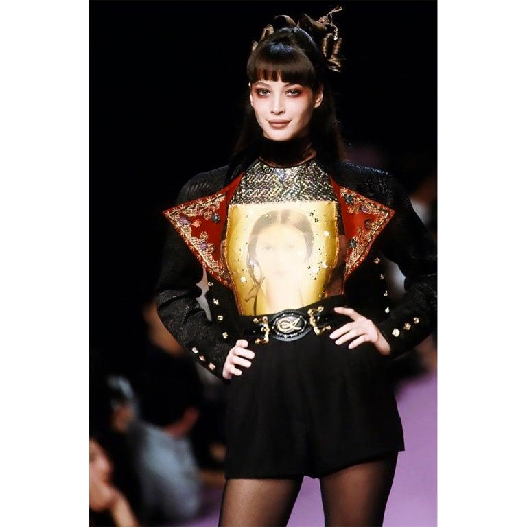 Documented Christian Lacroix 1994 Runway Black Velvet Skirt Suit W Red Velvet For Sale 8