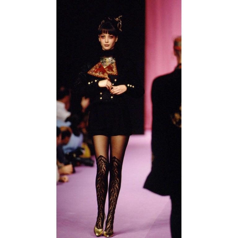 Documented Christian Lacroix 1994 Runway Black Velvet Skirt Suit W Red Velvet In Excellent Condition For Sale In Portland, OR