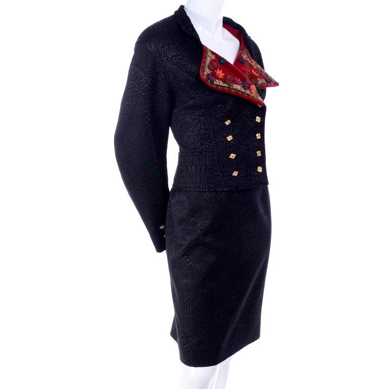 Women's Documented Christian Lacroix 1994 Runway Black Velvet Skirt Suit W Red Velvet For Sale