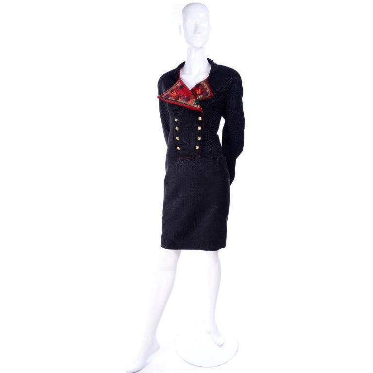 Documented Christian Lacroix 1994 Runway Black Velvet Skirt Suit W Red Velvet For Sale 1