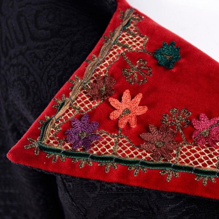 Documented Christian Lacroix 1994 Runway Black Velvet Skirt Suit W Red Velvet For Sale 2