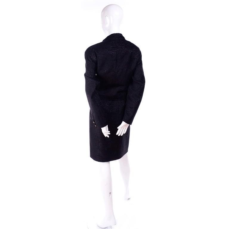 Documented Christian Lacroix 1994 Runway Black Velvet Skirt Suit W Red Velvet For Sale 3