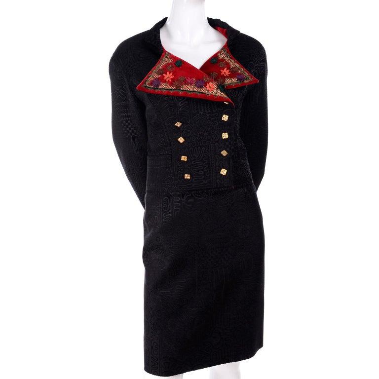Documented Christian Lacroix 1994 Runway Black Velvet Skirt Suit W Red Velvet For Sale