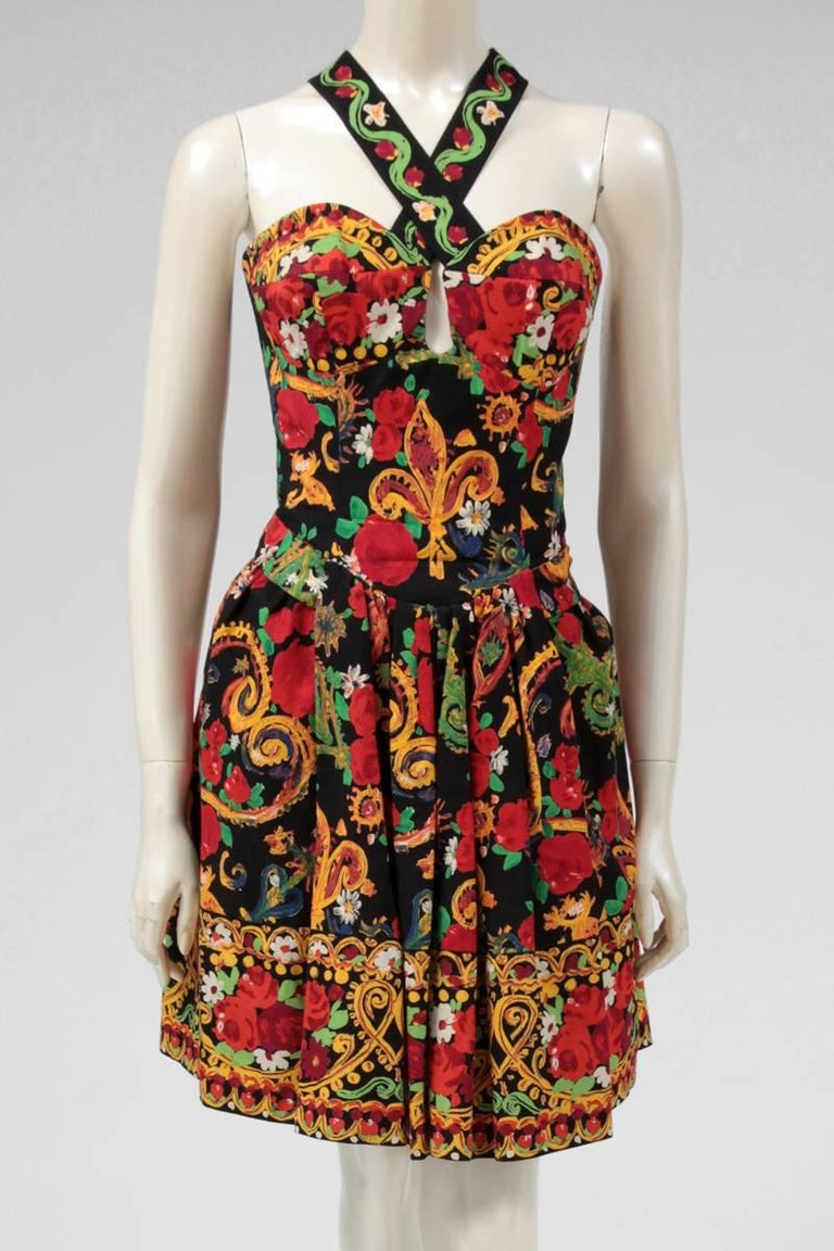 Brown Documented Christian Lacroix Cotton & Rhinestone Print Dress, Spring-Summer 1992 For Sale