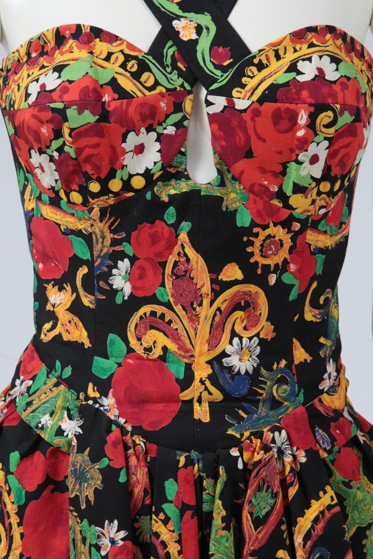 Documented Christian Lacroix Cotton & Rhinestone Print Dress, Spring-Summer 1992 In Excellent Condition For Sale In Geneva, CH