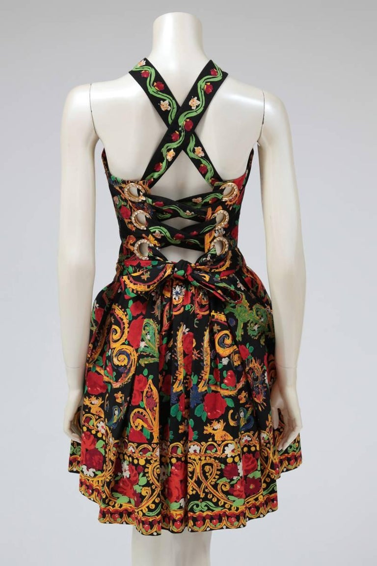 Women's Documented Christian Lacroix Cotton & Rhinestone Print Dress, Spring-Summer 1992 For Sale