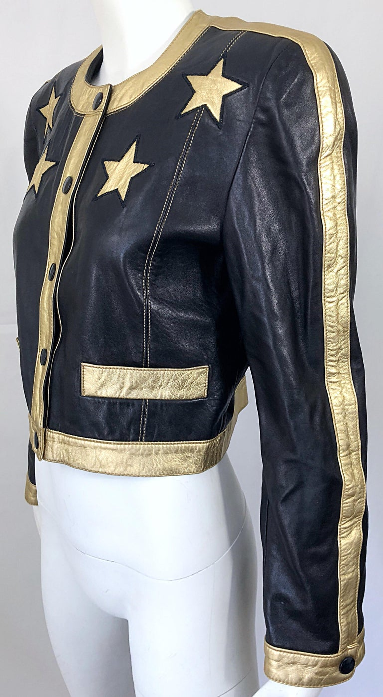 Documented Escada 1990s Black + Gold Leather Stars Vintage 90s Cropped Jacket 10