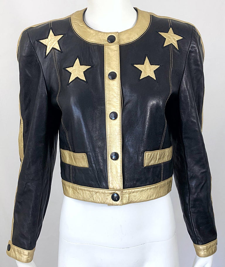 Documented Escada 1990s Black + Gold Leather Stars Vintage 90s Cropped Jacket 11