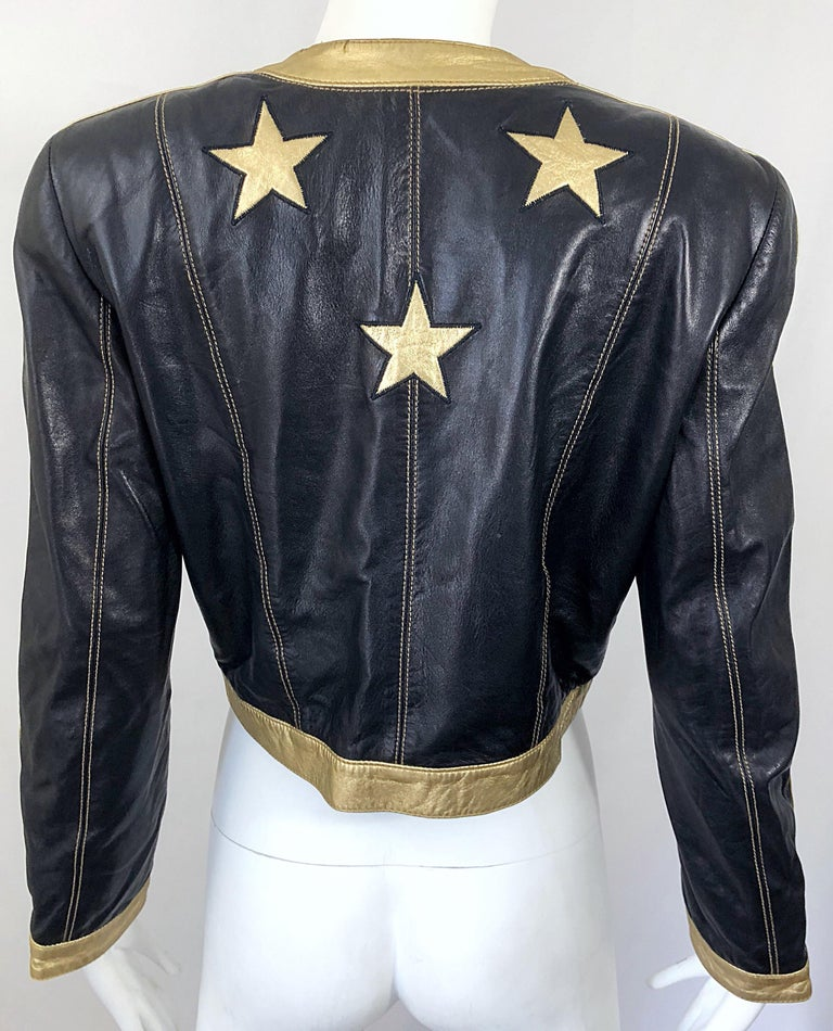 Documented Escada 1990s Black + Gold Leather Stars Vintage 90s Cropped Jacket 12