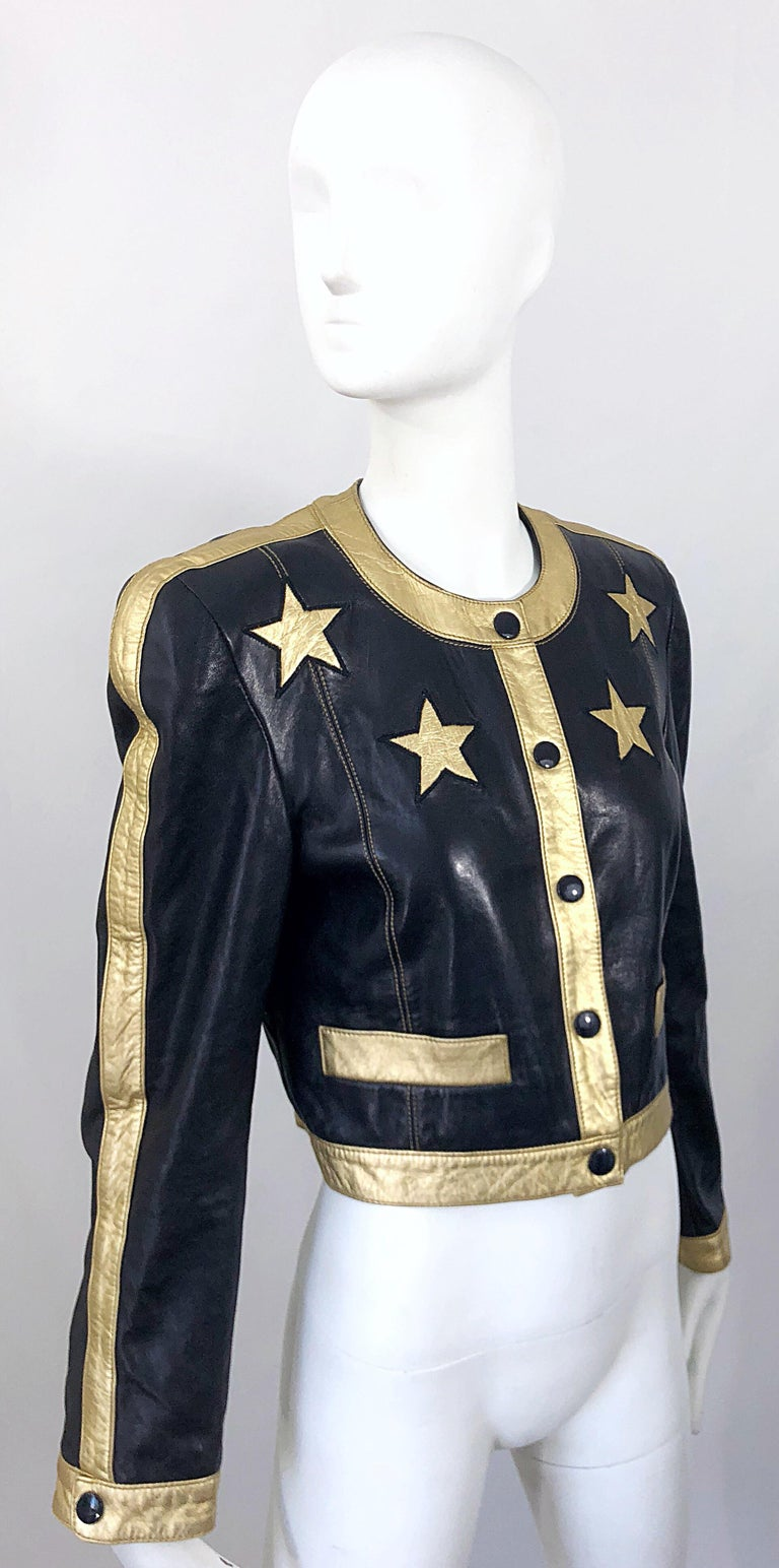 Documented Escada 1990s Black + Gold Leather Stars Vintage 90s Cropped Jacket 13